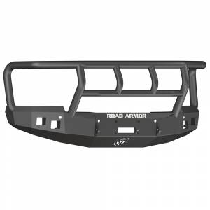 Road Armor - Road Armor 314R2B Stealth Winch Front Bumper with Titan II Guard and Square Light Holes for Chevy Silverado 1500 2014-2015