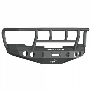 Road Armor 37702B Stealth Winch Front Bumper with Titan II Guard and Round Light Holes for Chevy Silverado 1500 2008-2013