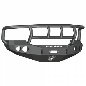 Ford F250/F350 Super Duty - Ford Superduty 2005-2007 - Road Armor - Road Armor 60502B Stealth Winch Front Bumper with Titan II Guard and Round Light Holes for Ford F250/F350/F450/Excursion 2005-2007