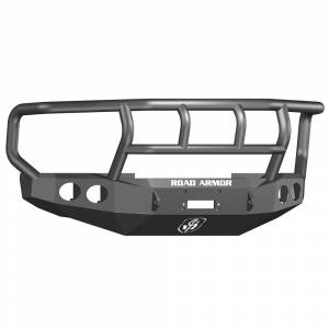 Ford F250/F350 Super Duty - Ford Superduty 2008-2010 - Road Armor - Road Armor 60802B Stealth Winch Front Bumper with Titan II Guard and Round Light Holes for Ford F250/F350/F450 2008-2010