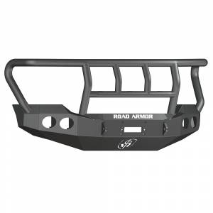 Shop Bumpers By Vehicle - Ford F450/F550 Super Duty - Road Armor - Road Armor 61102B Stealth Winch Front Bumper with Titan II Guard and Round Light Holes for Ford F250/F350 2011-2016