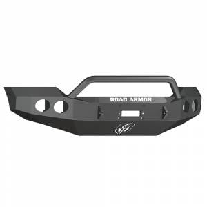 Shop Bumpers By Vehicle - Ford F450/F550 Super Duty - Road Armor - Road Armor 61104B Stealth Winch Front Bumper with Pre-Runner Guard and Round Light Holes for Ford F250/F350 2011-2016