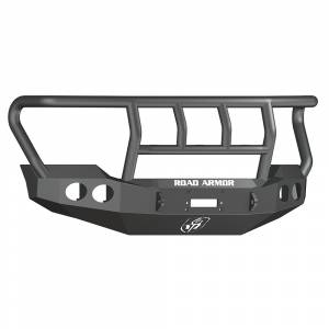 Road Armor - Road Armor 611402B Stealth Winch Front Bumper with Titan II Guard and Round Light Holes for Ford F450/F550 2011-2016