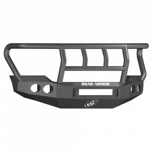 Road Armor - Road Armor 611402B-NW Stealth Non-Winch Front Bumper with Titan II Guard and Round Light Holes for Ford F450/F550 2011-2016