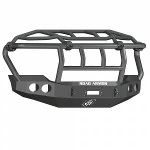 Road Armor - Road Armor 611403B Stealth Winch Front Bumper with Intimidator Guard and Round Light Holes for Ford F450/F550 2011-2016