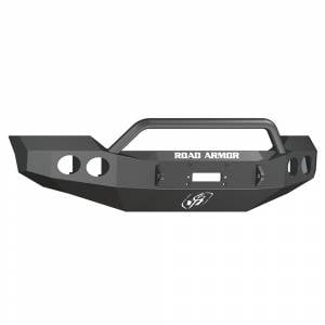 Road Armor - Road Armor 611404B Stealth Winch Front Bumper with Pre-Runner Guard and Round Light Holes for Ford F450/F550 2011-2016
