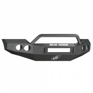 Road Armor - Road Armor 611404B-NW Stealth Non-Winch Front Bumper with Pre-Runner Guard and Round Light Holes for Ford F450/F550 2011-2016