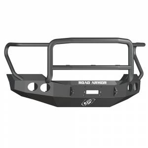Road Armor - Road Armor 611405B Stealth Winch Front Bumper with Lonestar Guard and Round Light Holes for Ford F450/F550 2011-2016