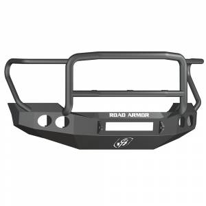 Road Armor - Road Armor 611405B-NW Stealth Non-Winch Front Bumper with Lonestar Guard and Round Light Holes for Ford F450/F550 2011-2016
