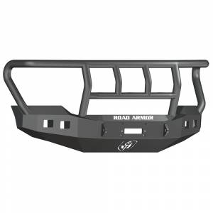 Road Armor - Road Armor 6114R2B Stealth Winch Front Bumper with Titan II Guard and Square Light Holes for Ford F450/F550 2011-2016