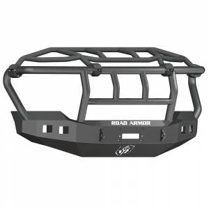 Road Armor - Road Armor 6114R3B Stealth Winch Front Bumper with Intimidator Guard and Square Light Holes for Ford F450/F550 2011-2016