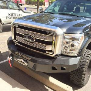 Shop Bumpers By Vehicle - Ford F450/F550 Super Duty - Road Armor - Road Armor 611R0B Stealth Winch Front Bumper with Square Light Holes for Ford F250/F350 2011-2016