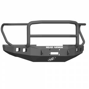 Shop Bumpers By Vehicle - Ford F450/F550 Super Duty - Road Armor - Road Armor 61745B Stealth Winch Front Bumper with Lonestar Guard and Square Light Holes for Ford F450/F550 2017-2020