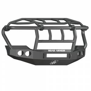 Road Armor - Road Armor 611403B-NW Stealth Non-Winch Front Bumper with Intimidator Guard and Round Light Holes for Ford F450/F550 2011-2016