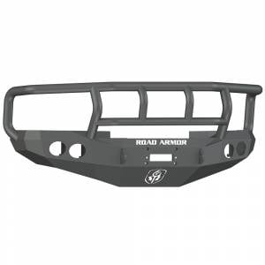 Road Armor 47012B Stealth Winch Front Bumper with Titan II Guard and Round Light Holes for Dodge Ram 1500/2500/3500 1997-2002