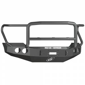 Shop Bumpers By Vehicle - Ford F450/F550 Super Duty - Road Armor - Road Armor 61105B Stealth Winch Front Bumper with Lonestar Guard and Round Light Holes for Ford F250/F350 2011-2016
