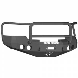 Road Armor 37605B Stealth Winch Front Bumper with Lonestar Guard and Round Light Holes for GMC Sierra 1500 2008-2013