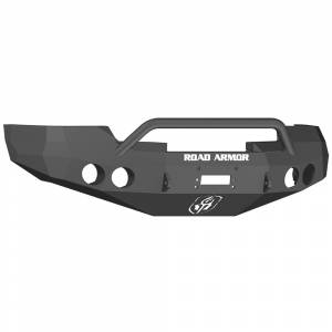 Road Armor 37604B Stealth Winch Front Bumper with Pre-Runner Guard and Round Light Holes for GMC Sierra 1500 2008-2013