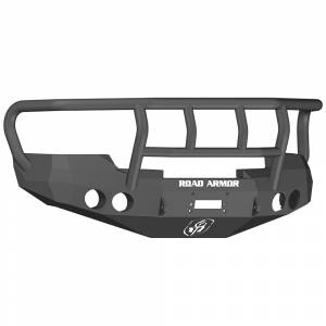 Road Armor 37602B Stealth Winch Front Bumper with Titan II Guard and Round Light Holes for GMC Sierra 1500 2008-2013