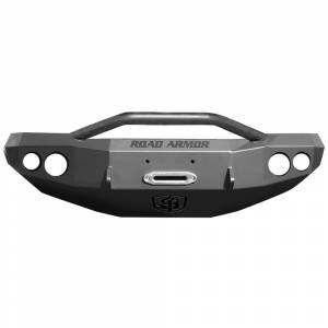 Road Armor - Road Armor 23714B Stealth Winch Front Bumper with Pre-Runner Guard and Round Light Holes for GMC Sierra 2500 HD/3500 HD 2000-2007