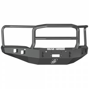 Road Armor - Road Armor 214R5B Stealth Winch Front Bumper with Lonestar Guard and Square Light Mounts for GMC Sierra 1500 2014-2015
