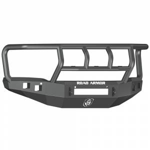 Road Armor - Road Armor 214R2B-NW Stealth Non-Winch Front Bumper with Titan II Guard and Square Light Holes for GMC Sierra 1500 2014-2015