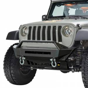 DV8 Offroad FBJL-01 Stubby Winch Front Bumper with Bull Bar for Jeep Wrangler JL 2018-2020