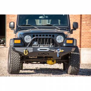 Expedition One TJFB100_H Trail Series Winch Front Bumper with Hoop for Jeep Wrangler TJ 1997-2006 - Bare Steel