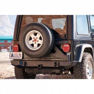 Expedition One TJRB100_STC Trail Series Rear Bumper with Carrier for Jeep Wrangler TJ 1997-2006 - Bare Steel