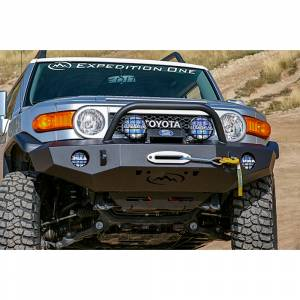 Expedition One FJCFB100_H_PC Trail Series Front Bumper with Standard Center Hoop for Toyota FJ Cruiser 2007-2014 - Textured Black