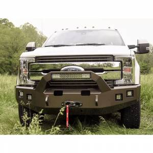 Backwoods - Backwoods BWFH25-101XXLLB Brute Winch Front Bumper with Bull Bar LED and without Sensor Holes for Ford F250/F350 2017-2021