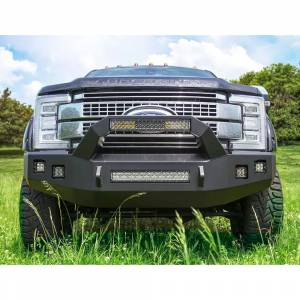 Backwoods - Backwoods BWFH25-101YYLLB Brute Front Bumper with Bull Bar LED and without Sensor Holes for Ford F250/F350 2017-2021