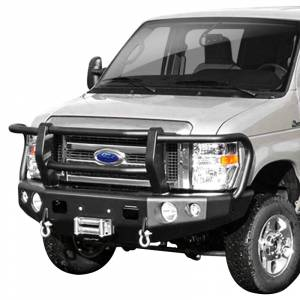 Van Bumpers - Ford Econoline Vans - TrailReady - TrailReady 13100G Winch Front Bumper with Full Guard for Ford E250/E350 1992-2007