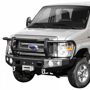 Van Bumpers - Ford Econoline Vans - TrailReady - TrailReady 13101G Winch Front Bumper with Full Guard for Ford E250/E350 2008-2020