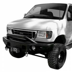 Van Bumpers - Ford Econoline Vans - TrailReady - TrailReady 13101P Winch Front Bumper with Pre-Runner Guard for Ford E250/E350 2008-2020
