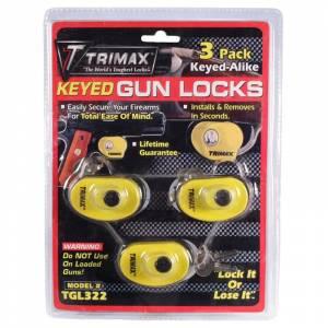 Towing Accessories - Locks - Trimax - Trimax TGL322 Max Security Keyed Gun Lock - 3 Pack