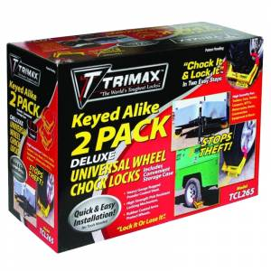 Towing Accessories - Locks - Trimax - Trimax TCL265 Wheel Chock Lock - 2 Pack