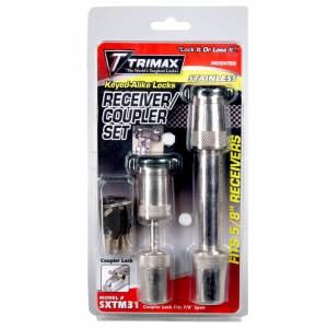 Towing Accessories - Trailer Hitch Locking Pins - Trimax - Trimax SXTM31 Keyed Alike Receiver and Coupler Lock Set - Stainless Steel