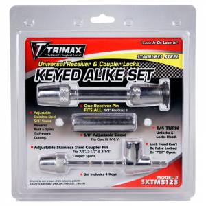 Towing Accessories - Trailer Hitch Locking Pins - Trimax - Trimax SXTM3123 Universal Keyed Alike Receivers and Coupler Lock Set - Stainless Steel