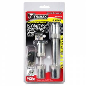 Towing Accessories - Trailer Hitch Locking Pins - Trimax - Trimax TM31 Keyed Alike Receivers and Coupler Lock Set