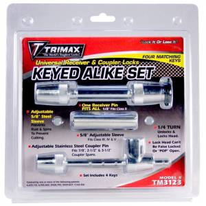 Towing Accessories - Trailer Hitch Locking Pins - Trimax - Trimax TM3123 Universal Keyed Alike Receivers and Coupler Lock Set