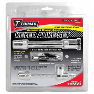 Towing Accessories - Trailer Hitch Locking Pins - Trimax - Trimax TM5123 Keyed Alike Receiver Lock and Universal Coupler Lock Set