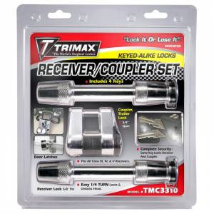 Towing Accessories - Trailer Hitch Locking Pins - Trimax - Trimax TMC3310 Keyed Alike Receivers and Coupler Lock Set