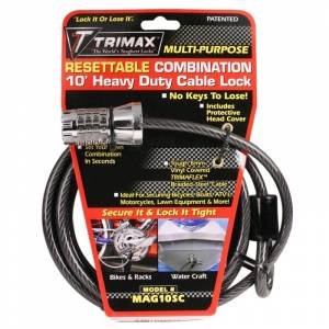 Towing Accessories - Locks - Trimax - Trimax MAG10SC Resettable Combination Cable Lock