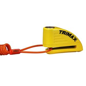 Towing Accessories - Locks - Trimax - Trimax TAL88YL Alarmed Disc Lock with Pouch and Reminder Cable