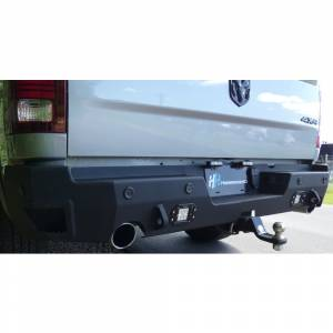Hammerhead Bumpers - Hammerhead 600-56-0969 Flush Mount Rear Bumper with Sensor Holes and Exhaust Cutouts for Dodge Ram 1500 2019-2021