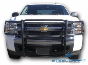 B Exterior Accessories - Grille Guards - Steelcraft - Steelcraft 50320 Black Grille Guard Chevy Silverado 1500 (2007-2013)