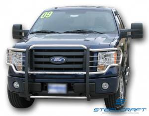 B Exterior Accessories - Grille Guards - Steelcraft - Steelcraft 51290 Black Grille Guard Ford F150 (2004-2008)