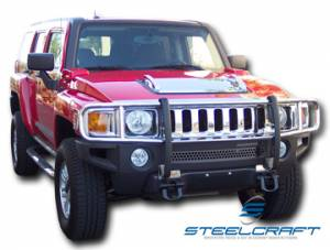 B Exterior Accessories - Grille Guards - Steelcraft - Steelcraft 50280 Black Grille Guard Hummer H3 (2006-2010)