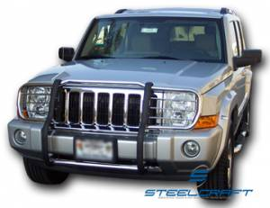 B Exterior Accessories - Grille Guards - Steelcraft - Steelcraft 52050 Black Grille Guard Jeep Cherokee (1984-2001)